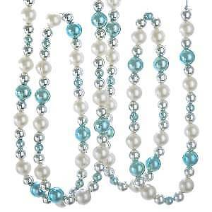 Silver, Blue and White Beaded Garland w