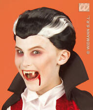 Childrens Black And White Vampire Dracula Wig Halloween Fancy Dress