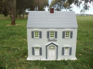 Wooden Dolls House with Personalised Name 1:12 scale Dollhouse