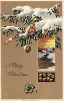 PFB Christmas~Snowy Pine Tree Branch Bird~Walnut Ornament~Tan Back~Emboss~11222