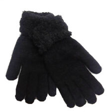 Gloves Of Wool Angora Rabbit Black Woman Short Long Winter Double Fabric