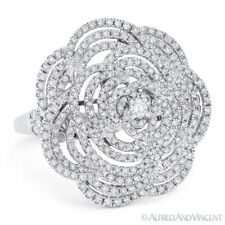 Flower Cocktail Ring in 18k White Gold 1.47 ct Round Cut Diamond Pave Right-Hand