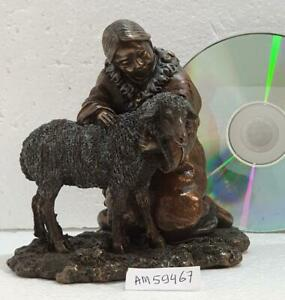 TIBETAN CULTURE, TIBETAN LADY WITH SHEEP cold cast bronzed by VERONESE