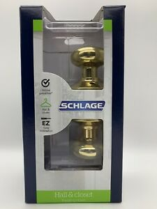 Schlage Hall & Closet /Privacy Plymouth Design - Bright Brass F10VPLY605 NEW.!