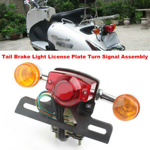Motorcycle Scooter Tail Brake Light Rear Stop Lamp License Assembly Turn Signal