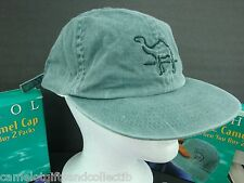Vintage 97 Joe CAMEL Green Cotton BASEBALL CAP Hat, with Brass Clasp. NEW NO BOX