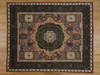 "8'1""x10' Peshawar with Mamluk Design HandKnotted Pure Wool Oriental Rug G36935"