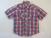WRANGLER western red and blue plaid sawtooth pocket pearl snap Men's Sz-XL