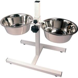 -Raised Twin Dog High Feeder High Stand inc Bowls Adjustable for Larger Dogs