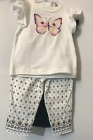 Baby girl clothes, 6 months, Carter's 3 piece set NWT Black White Butterfly