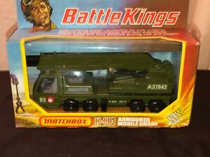 Vintage Battle Kings K113 Die Cast Toy armoured mobile crane with box Matchbox