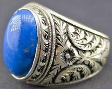 Men's sterling silver ring, natural turquoise gemstone, steel pen crafts handmad