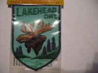 Vintage Lakehead Ontario Souvenir Canada  Patch Sew  with Moose