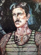 LEX outsider pop SuRReal tattoo Original !Tesla Science Quantum  INCON painting