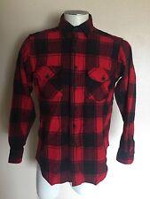 Vintage Woolrich Flannel Shirt, Men's Medium, Buffalo Plaid Lumberjack, Red