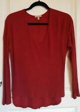 womens BORDEAUX top XSmall red high low long sleeve