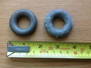 Antique Longcase Grandfather Clock Spare Parts x 2 Ring Doughnut Cord Weights