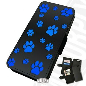 Printed Faux Leather Flip Phone Case Oppo - Paw-Pattern-Blue