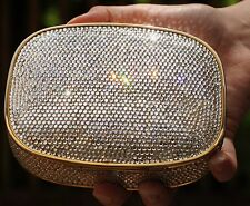 JUDITH LEIBER LUX SIMPLE CLEAR GOLD SWAROVSKI CRYSTAL MINAUDIERE EVENING BAG BOX