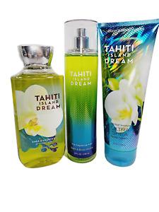 Bath Body Works TAHITI ISLAND DREAM Mist Spray Shower Gel Cream Lotion 3 PC SET
