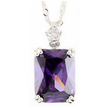 Pendant Rectangle Purple Amethyst White Gold Plated Cubic Zirconia Free Necklace
