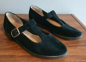 Clarks Originals black flat mary jane shoes size 4 suede T bar buckle rubber