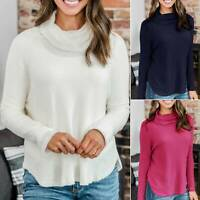 Women Knitted Turtle Cowl Neck Long Sleeve Shirt Sweater Jumper Blouse Pullover