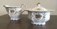*AWESOME* RARE ADLINE MAJESTIC  CHINA COVERED SUGAR BOWL & CREAMER GOLD TRIM