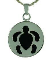 Cremation Silver Hawaiian Turtle Pendant Necklace Jewelry