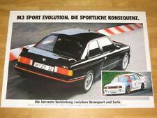 BMW M3 E30 EVO VINTAGE POSTER 21 - EVO SPORT EVOLUTION / ORIGINAL VINTAGE RAR