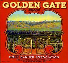 Redlands Golden Gate #1 Orange Citrus Fruit Crate Label Art Print