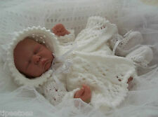 DK Knitting Pattern #42 TO KNIT Matinee Set Preemie Baby or 16in Reborn Dolls