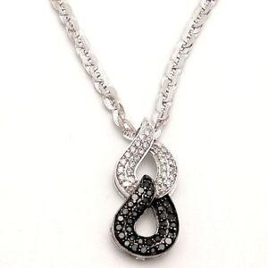 0.66ct White & Black DIAMOND Infinity Pendant 10K Gold 7.60 gr SI/I2 Fancy Chain