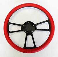 "14"" Red Grip on Black Spoke Steering Wheel Nice Wheel Shallow Dish for GM Column"