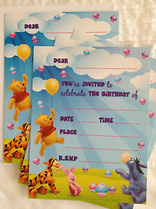 NEW: 8 DISNEY WINNIE THE POOH INVITATIONS & ENVELOPES (BIRTHDAY PARTY/OTHER)