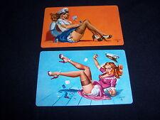 (2) single FREEMAN ELLIOTT PIN UP playing cards-VINTAGE-sailor GIRLS play cards