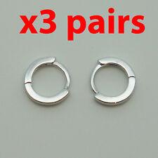 3 Pairs 18k white Gold plt huggie 10mm sleeper earrings Non-allergenic AUS MADE