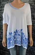 Women's White Finely Knitted Short Sleeved Floral Sweater Top Uk Size 20 / 22