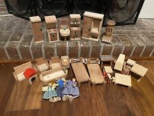 Lot Of Wooden Doll House Furniture And Figures Battat