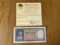 REPUBBLICA ITALIANA BANCONOTA Lire 1000 ITALIA MEDUSA 1959 certificata BB