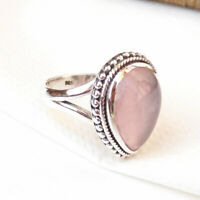 Solid 925 Sterling Silver Natural Rose Quartz Ring, Pink Rose Quartz Rings-S149