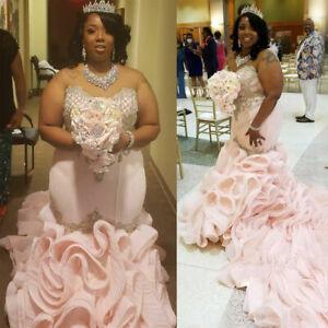 Blush Pink Mermaid Wedding Dresses Sweetheart Beads Appliques Long Ruffles Train