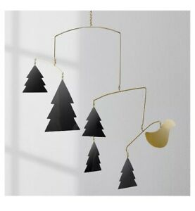 Target Project 62 Hanging Holiday Mobile PineTree Bird Gold Tone Black New Metal
