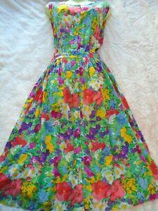 ORIGINAL VINTAGE 80`S FLORAL FULL BUTTON FASTEN FRONT DRESS POCKETS IN ROMANTIC