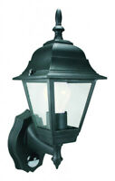 Elro 4 Panel Outdoor Security Wall Lantern Lamp Light with PIR - 100W - Black