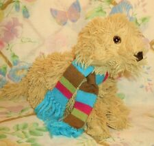 """2005 MAURICES PLUSH STUFFED YELLOW LABRADOODLE DOG LUCKY 9"""" EUC IN WINTER SCARF"""
