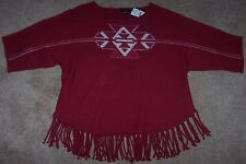 NWT Intro Dark Red Sweater Cream AZTEC Indian Design FUNKY FRINGE Petite XL PXL