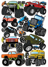 MONSTER JAM TRUCKS wall stickers 18 big vinyl decals room decor party decoration