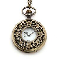 Vintage Bronze Tone Carved Flower Round Pocket Quartz Watch Pendant Necklace