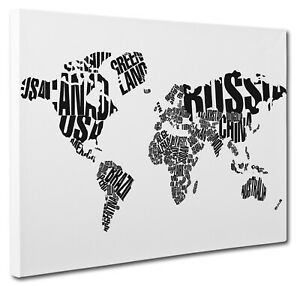 World Map Typography Black & White Canvas Print Wall Art CANVAS PICTURE PRINT